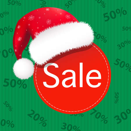 Christmas Sale Poster, Isolated On Green Background Vector