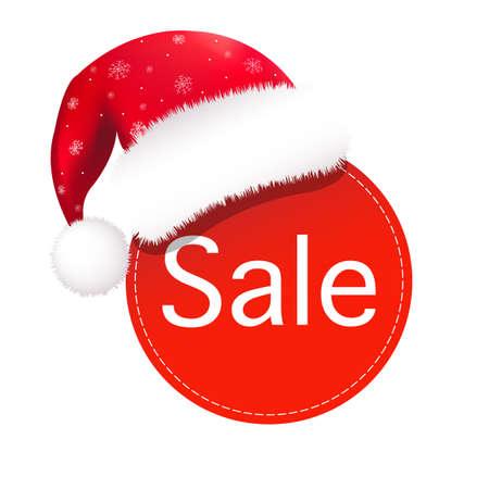cartoon present: Christmas Speech Bubble With Santa Claus Hat Illustration