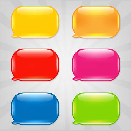 Colorful Speech Bubble, Isolated On Grey Background Illustration Vector