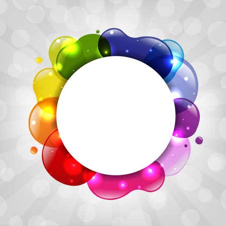 spilled paint: Colorful Speech Bubble With Sunburst Illustration