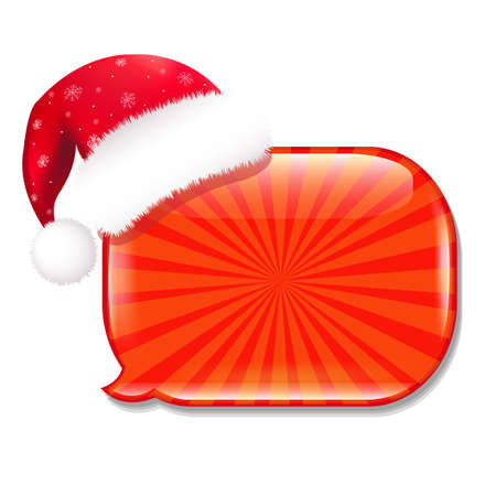 ded moroz: Glossy Speech Bubble With Hat, Isolated On White Background Illustration Illustration