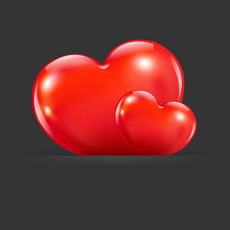 2 Hearts With Divider, Isolated On Black Background Illustration Vector