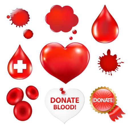 blood flow: Collezione Big con goccia di sangue e il cuore, illustrazione vettoriale