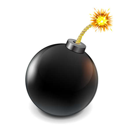 explosive: Black Bomb, Isolated On White Background, Vector Illustration