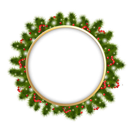 snow wreath: Christmas Composition With Fir-tree Branches, Vector Illustration Illustration