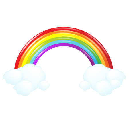 Colorful Rainbow With Cloud, Illustration Vector