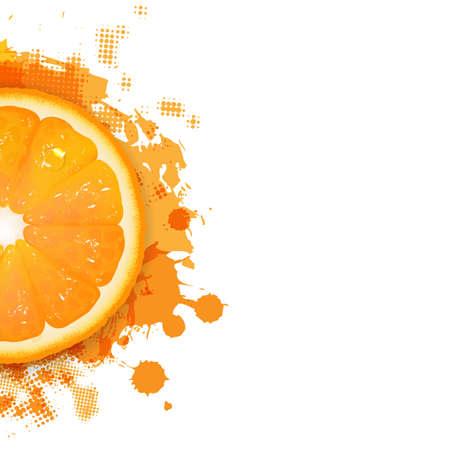 citricos: Naranja Con Gotas anaranjadas, aisladas sobre fondo blanco Ilustraci�n,