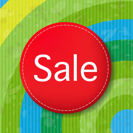 Red Sale Poster With Color Line,  Illustration