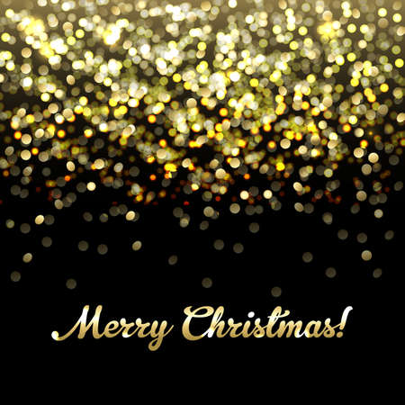 glitters: Golden Defocused Merry Christmas Background Illustration