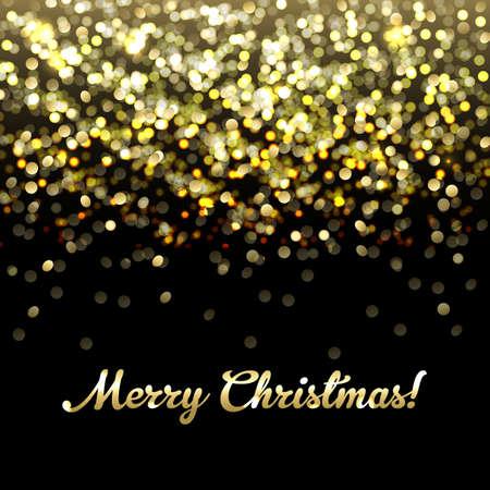 Golden Defocused Vrolijk kerstfeest Achtergrond