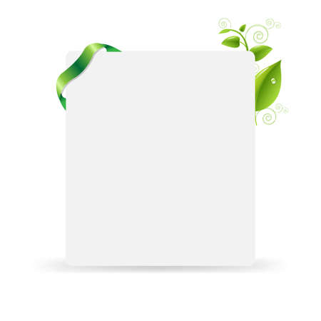 eco notice: Blank Gift Tag With Green Leaves, Isolated On White Background, Vector Illustration Illustration