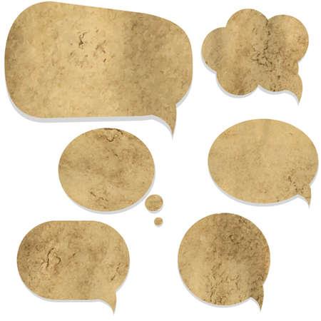 오래 된 종이 빈티지 연설 거품, 흰색 배경, 벡터 일러스트 레이 션에서 절연