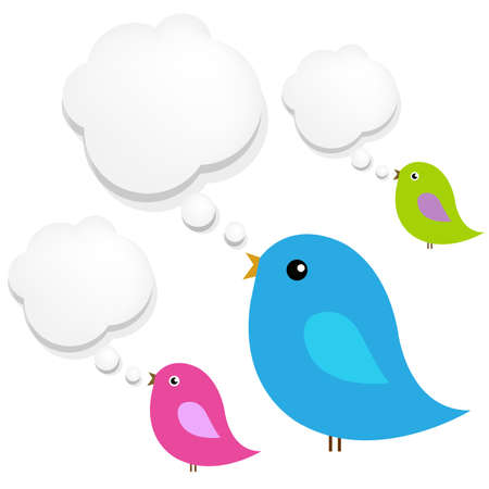 Birds With Cloud Speech Bubble Vector