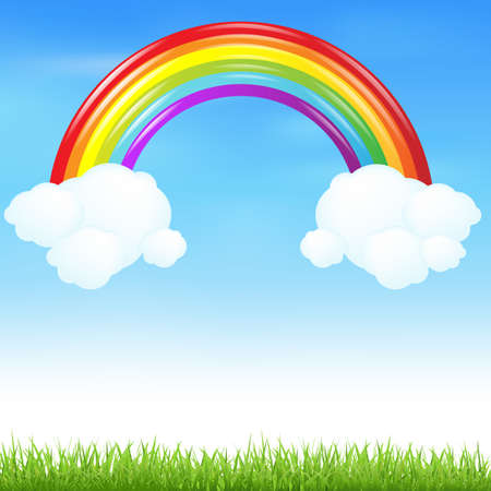 Colorful Rainbow With Grass And Cloud Vector