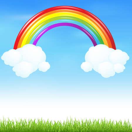 Kleurrijke Regenboog Met Gras En Wolk Stock Illustratie