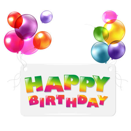 Happy Birthday Colorful Greetings Card, Illustration Vector