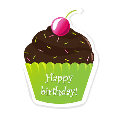 Happy Birthday Sticker With Berry, Illustration Vector