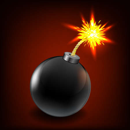 vector bomb: Black Sale Bomb With Gradient Mesh, Isolated On Black Background, Vector Illustration
