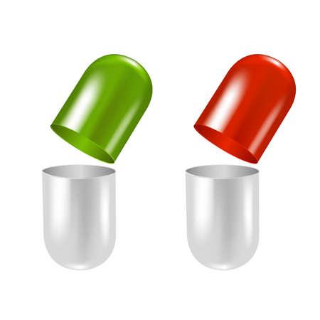2 Pillen, Met Verloopnet, Geà ¯ soleerd Op Witte Achtergrond, Vector Illustratie