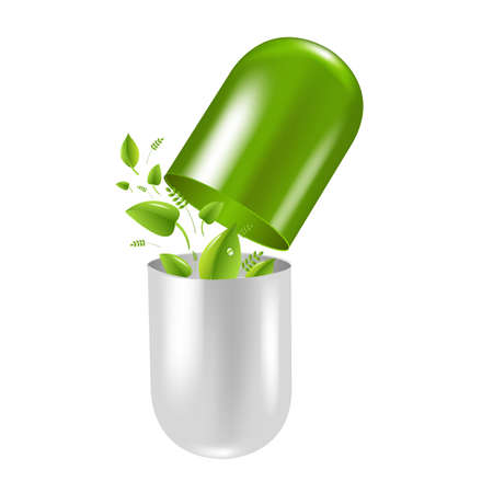 Pill Wit Leaf, With Gradient Mesh, Illustration