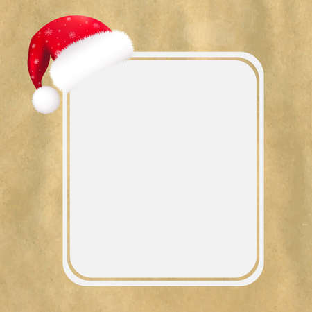 Red Santa Hat With Blank Gift Tag And Old Paper With Gradient Mesh,  Vector Illustration Stock Vector - 16080751