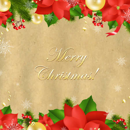Christmas Card With Poinsettia With Gradient Mesh Illustration