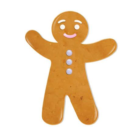 galletas de jengibre: Galletas de Navidad, aislado en fondo blanco Vectores