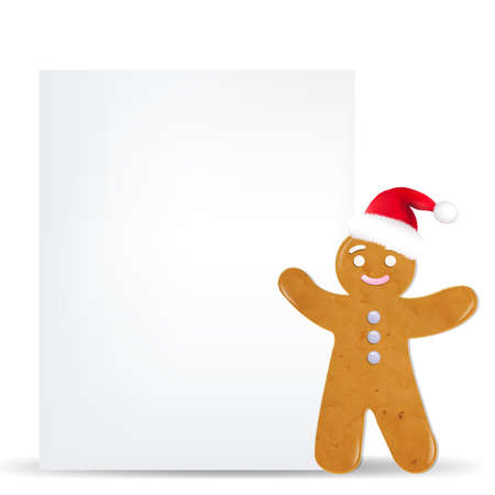 gingerbread man: Gingerbread Man And Blank Gift Tag With Gradient Mesh,  Illustration Illustration