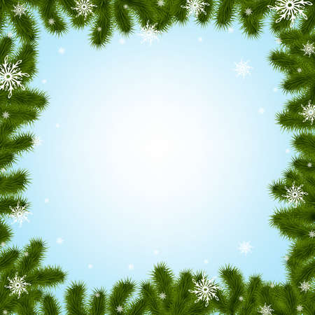 christmas backdrop: Border Fir-tree Branches With Snowflakes With Gradient Mesh,  Illustration