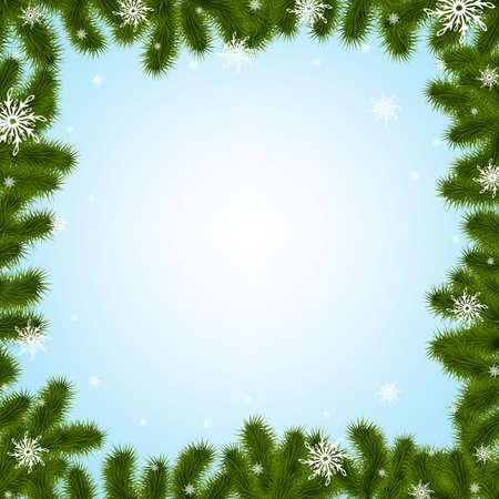 spruce: Frontera abeto ramas con los copos de nieve con una malla de gradiente, Ilustraci�n Vectores