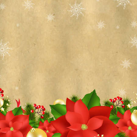 Christmas Card With Poinsettia With Gradient Mesh,  Illustration Vector