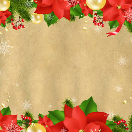 Christmas Card With Poinsettia With Gradient Mesh,  Illustration 矢量图像