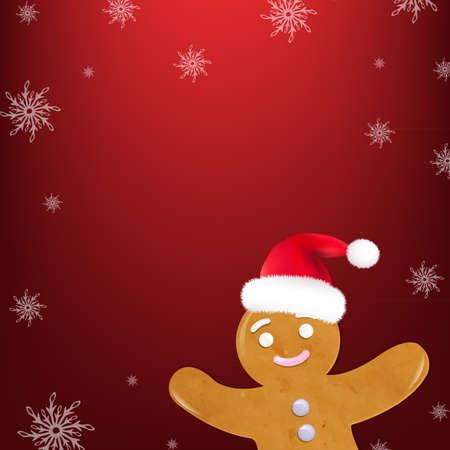 galleta de jengibre: Galletas de Navidad, aislado en fondo rojo Ilustración,