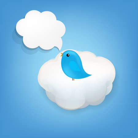 declare: Cloud Icon With Bird With Gradient Mesh,  Illustration  Illustration