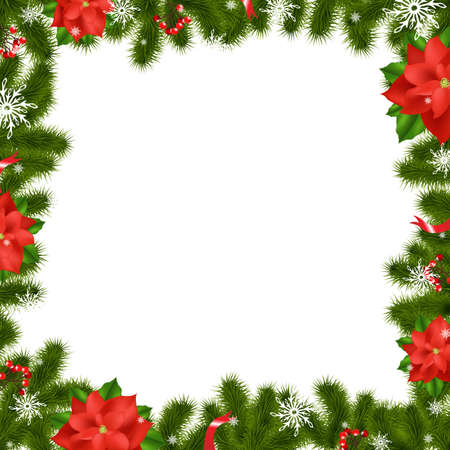 Frame Fir Tree Branches With Poinsettia With Gradient Mesh,  Illustration