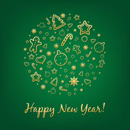 Green Happy New Year Card With Gradient Mesh,  Illustration Vector