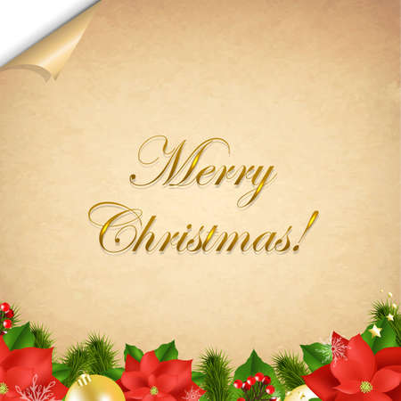 Old Paper With Corner And Christmas Border With Gradient Mesh,  Illustration Vector