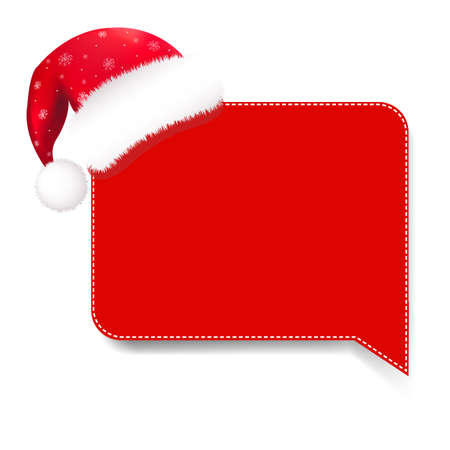 Red Speech Bubble With Santa Hat With Gradient Mesh,   Illustration Vector