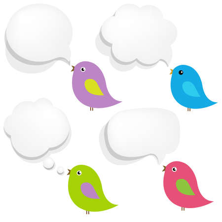 White Paper Speech Bubble And Birds With Gradient Mesh,  Illustration
