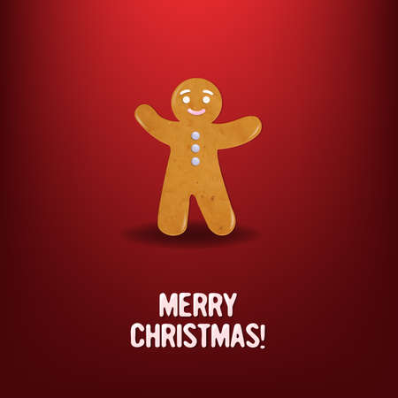 Christmas cookies, Isolated On Red Background,  Illustration Vector