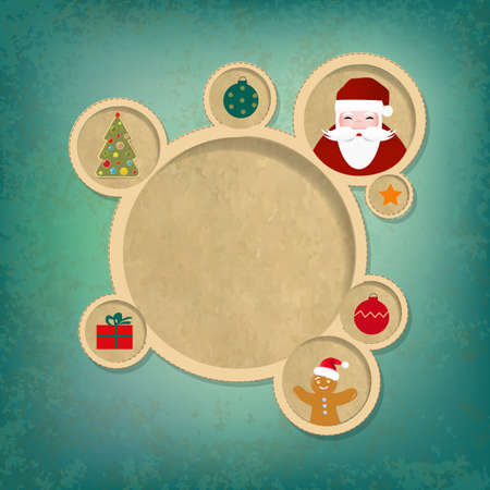 Old Christmas Web Design Bubbles And Santa Claus With Gradient Mesh,  Illustration Vector