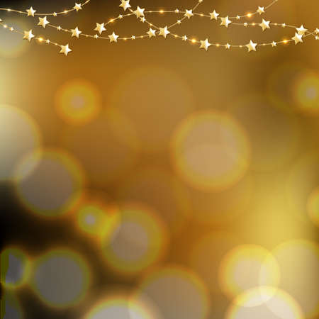 golden  gleam: Golden Stars With Bokeh Background With Gradient Mesh, Vector Illustration