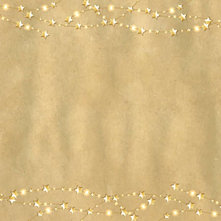 gold colour: Vintage Cardboard With Gold Stars With Gradient Mesh, Vector Illustration