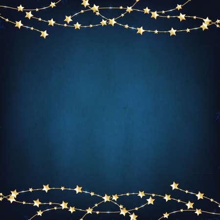 Kerstmis Blauwe Achtergrond Met Gouden Sterren Met Gradient Mesh, Vector Illustratie