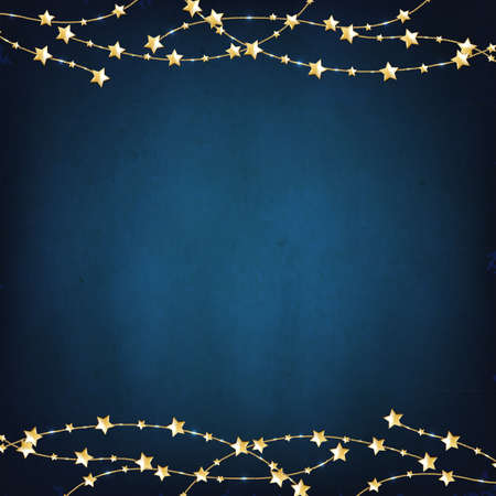Xmas Blue Background With Gold Stars With Gradient Mesh, Vector Illustration