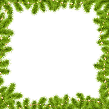 coniferous forest: Frontera Abeto Ramas con estrellas doradas con gradiente de malla, ilustración vectorial Vectores