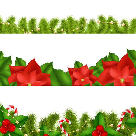 Borders Fir-tree Branches With Holly Berry Set With Gradient Mesh, Vector Illustration