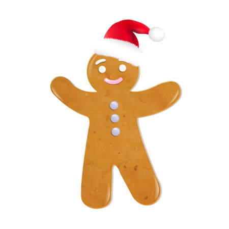 Koekjes van Kerstmis met Kerstmuts, Geà ¯ soleerd Op Witte Achtergrond, Vector Illustratie Stock Illustratie