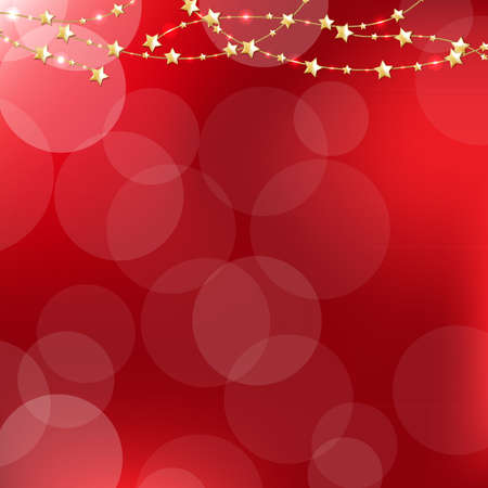 Golden Stars With Red Bokeh Background With Gradient Mesh, Vector Illustration Vector