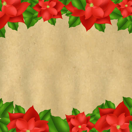 Red Poinsettia Borders With Old Paper With Gradient Mesh, Vector Illustration Vector